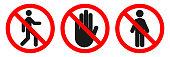 Set of NO ENTRY signs. Vector