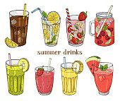 Set of non-alcoholic summer drinks. Lemon, strawberry, raspberry, watermelon, banana and kiwi.