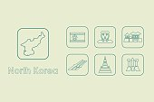 Set of North Korea simple icons