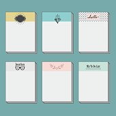 Set of note cards template on blue background