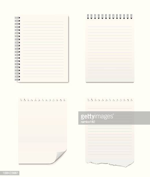 set of notepads and blank pages - note pad stock illustrations