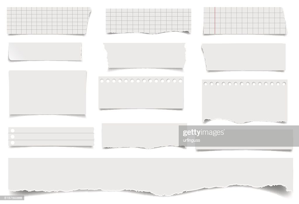 Set of notepaper sheets with shadow