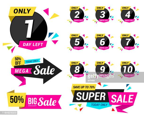 Set of number days left countdown for promotional banner and Sale Tag Elements