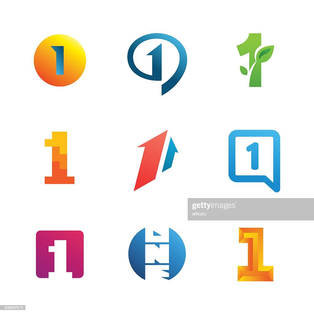 Set of number one 1 emblem icon design template elements