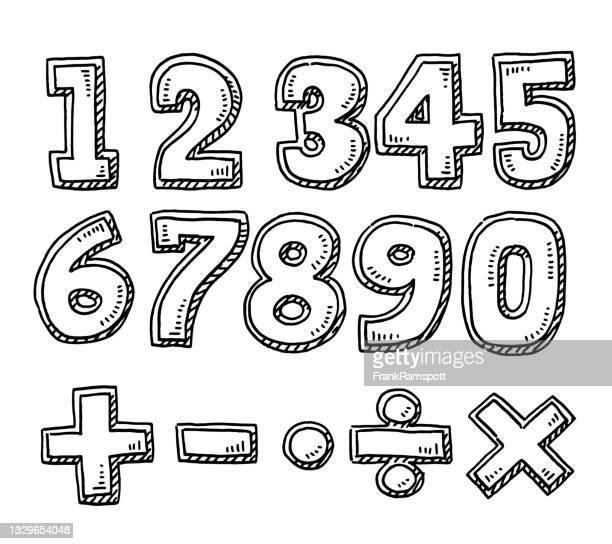 illustrazioni stock, clip art, cartoni animati e icone di tendenza di insieme di numeri e simboli matematici disegno - numero 2