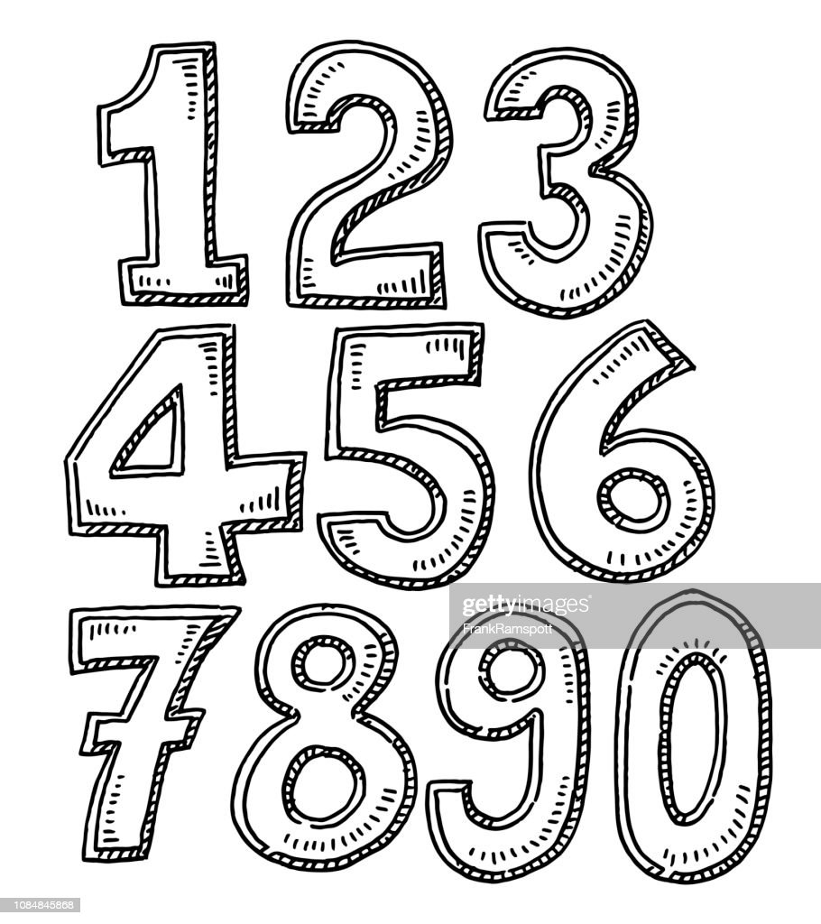 Set Of Numbers Drawing : Stock Illustration