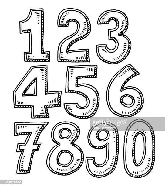 Satz von Zahlen Zeichnung