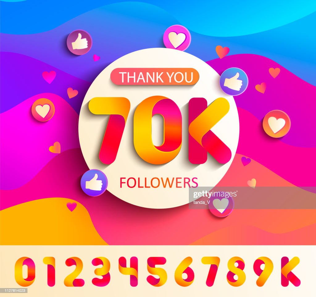 Set of numbers for Thanks follower template design