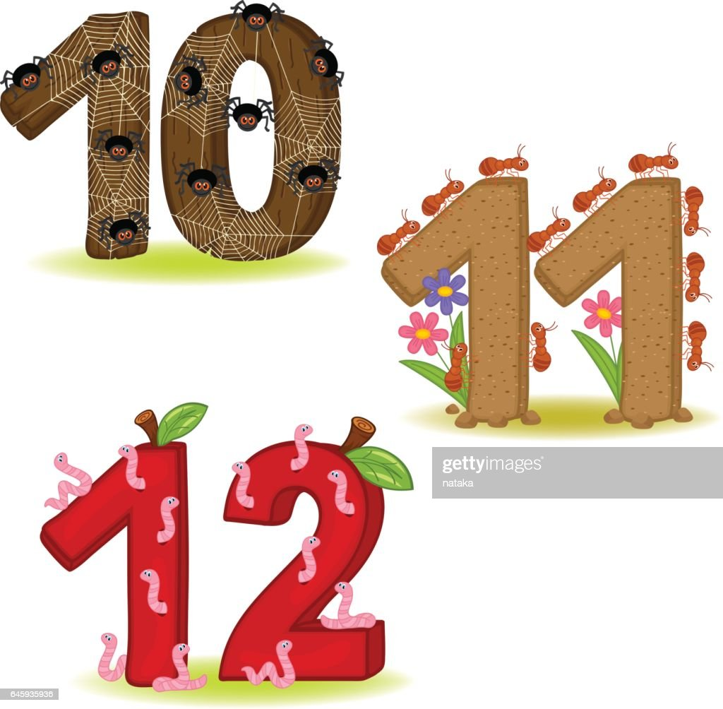 set of numbers with number of animals from 10 to 12