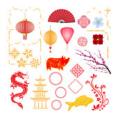 Set of objects of Happy chinese new year 2019.
