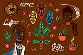 A set of objects on a coffee theme in Ethiopia. Women, coffee cups, coffee branches, coffee beans, berries, traditional masks, lettering. Vector illustration.