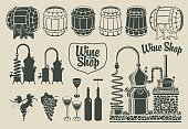 set of objects on the topic of wine production