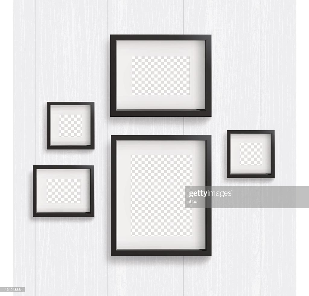 Set of of frames isolated on wood background. Vector illustration
