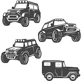set of off road cars icons isolated on white background. Images for label, emblem. Vector illustration.