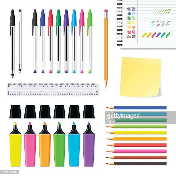 Set of office supplies isolated on white background