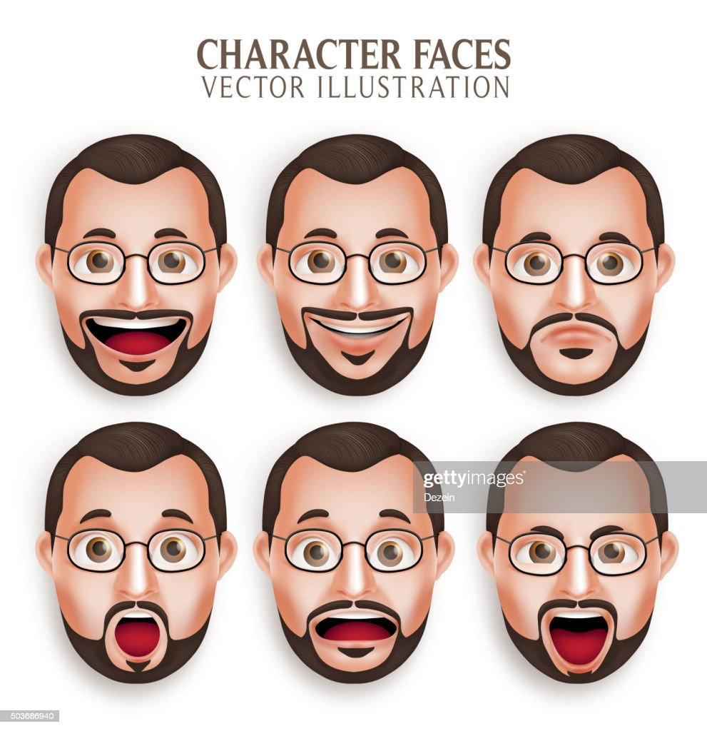 Set of Old Beard Man Head with Different Facial Expression