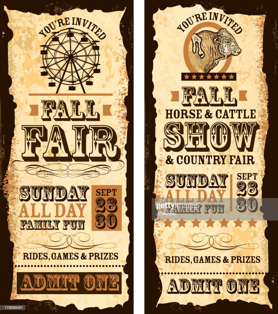 Set of old fashioned Fall fair and show tickets template : stock illustration