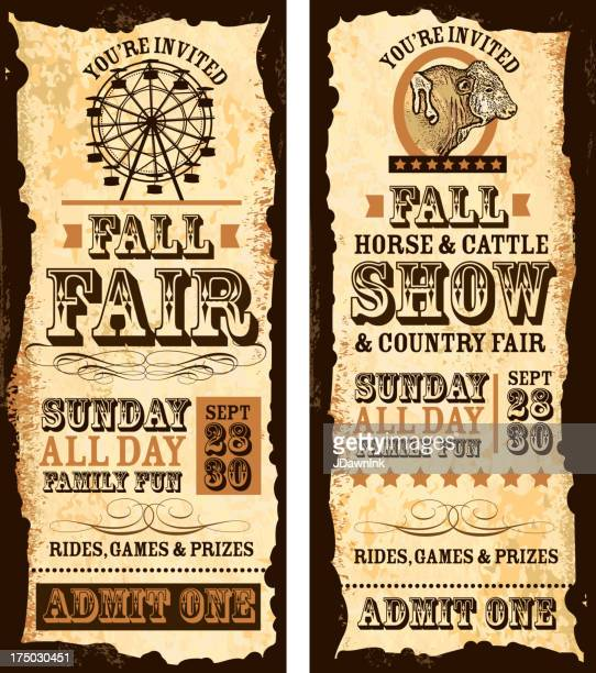 set of old fashioned fall fair and show tickets template - ferris wheel stock illustrations, clip art, cartoons, & icons