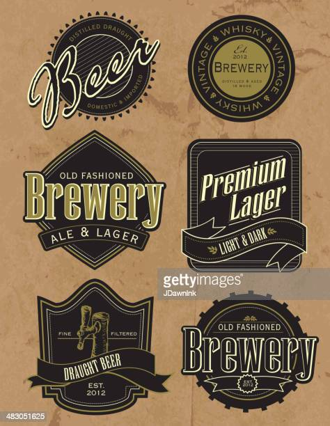 set of old fashioned retro beer labels - whiskey stock illustrations