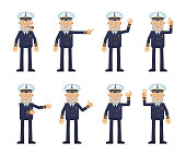 Set of old navy captain characters showing different hand gestures