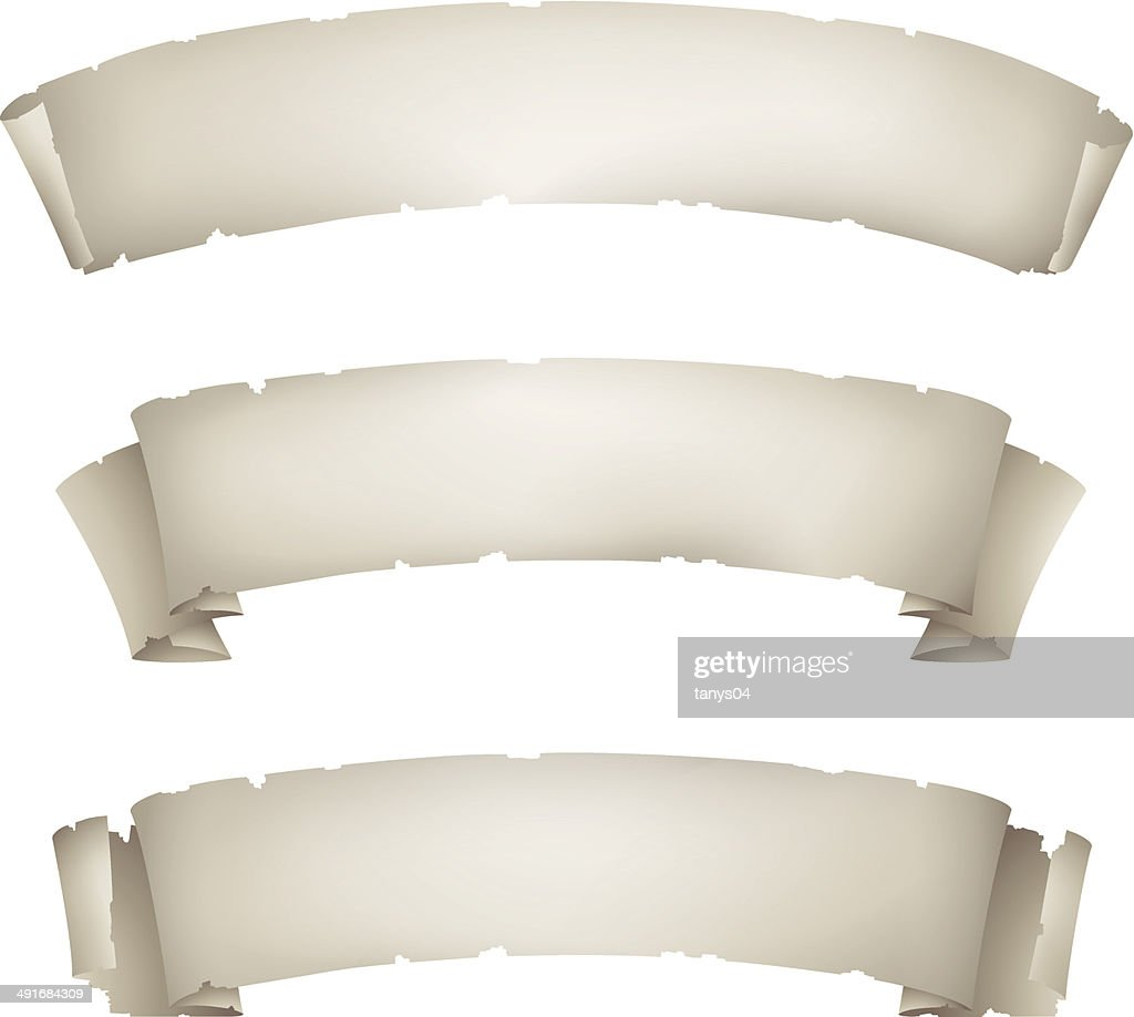 set of old paper ribbon banners