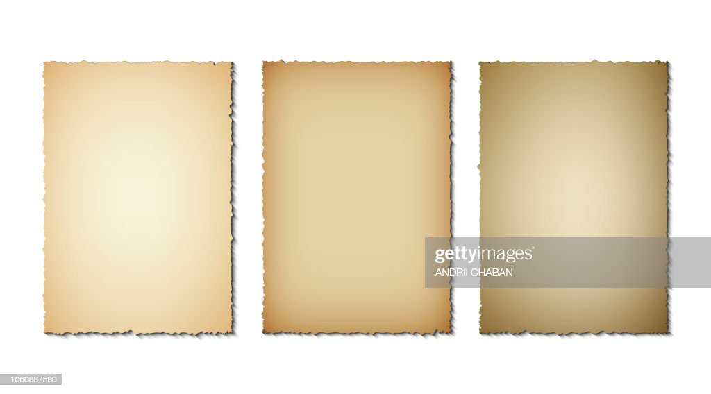 Set of old paper torn edges. Grunge texture of old paper on white background. Vector illustration