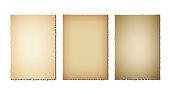 Set of old paper torn edges. Grunge texture of old paper on white background. Vector illustration