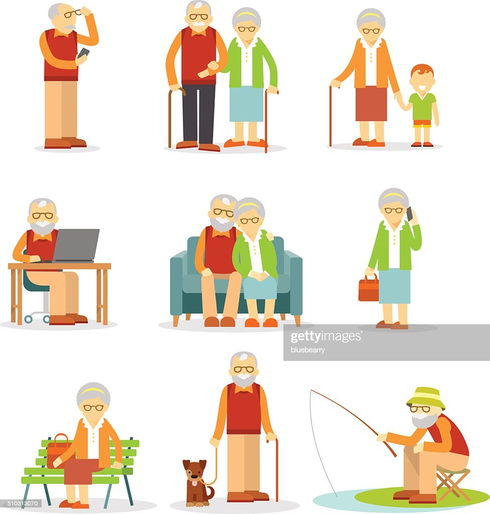 Set of old people in different situations