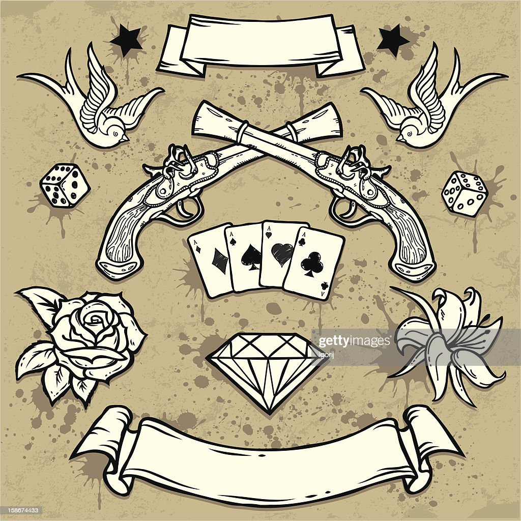 7470f0912672f Set Of Old School Tattoo Elements stock vector - Getty Images