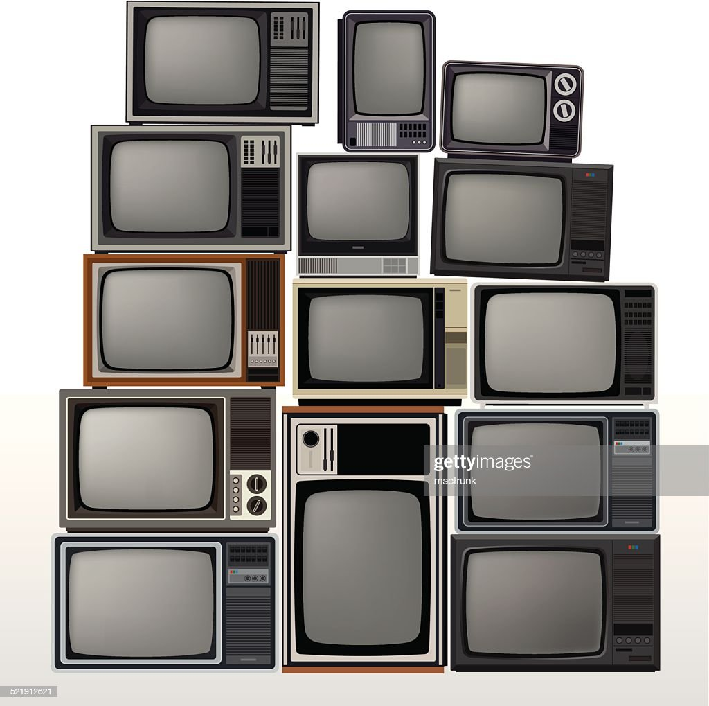 Set of old televisions