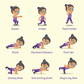 Set of old woman doing exercises for health and fitness