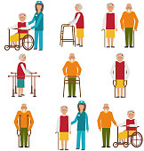 Set of Older People Disabled. Elderly  in Different Situations with