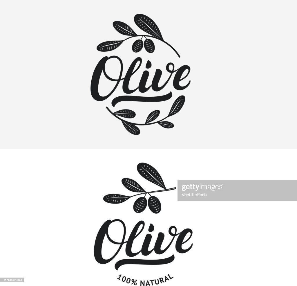 Set of olive hand written lettering label, badge or emblem.