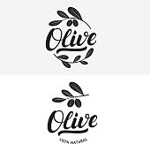 Set of olive hand written lettering label, badge or emblem.