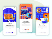 Set of onboarding screens user interface kit for Development, Programming, Developing, mobile app templates