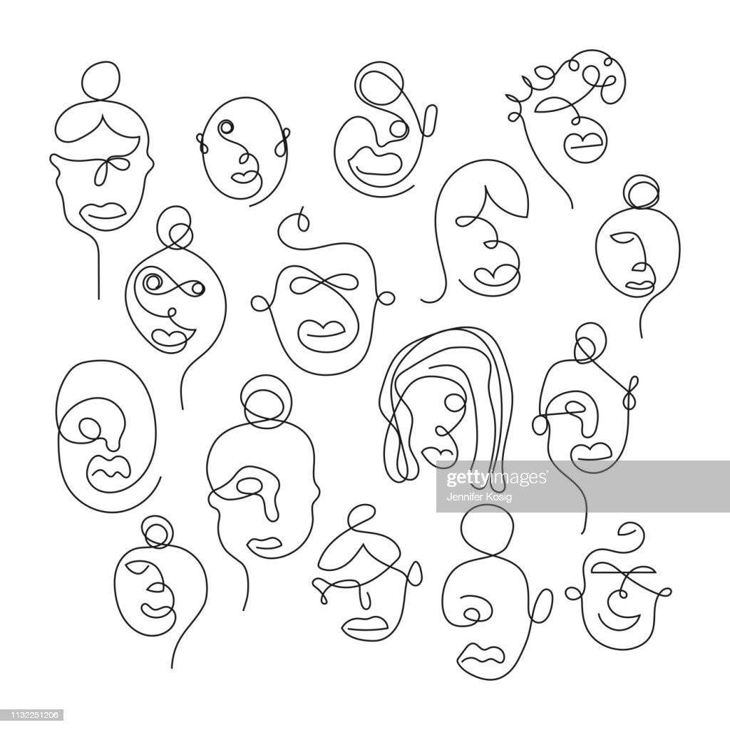 Set einer Zeile Gesichtsbilder : Stock-Illustration