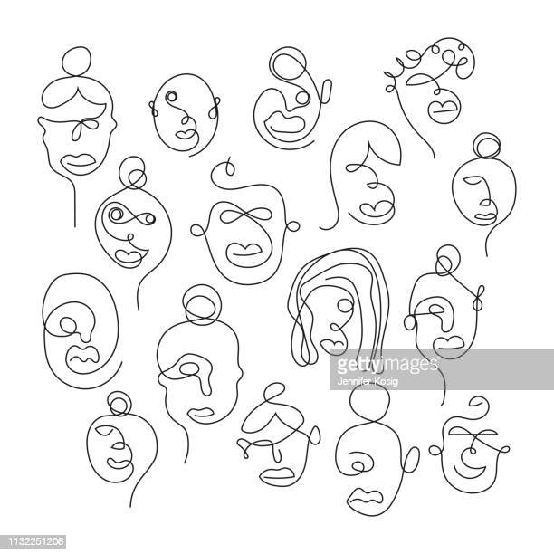 set of one line face illustrations - human face stock illustrations