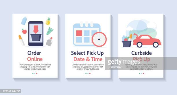set of online ordering for curbside pick up web banner templates - curbside pickup stock illustrations