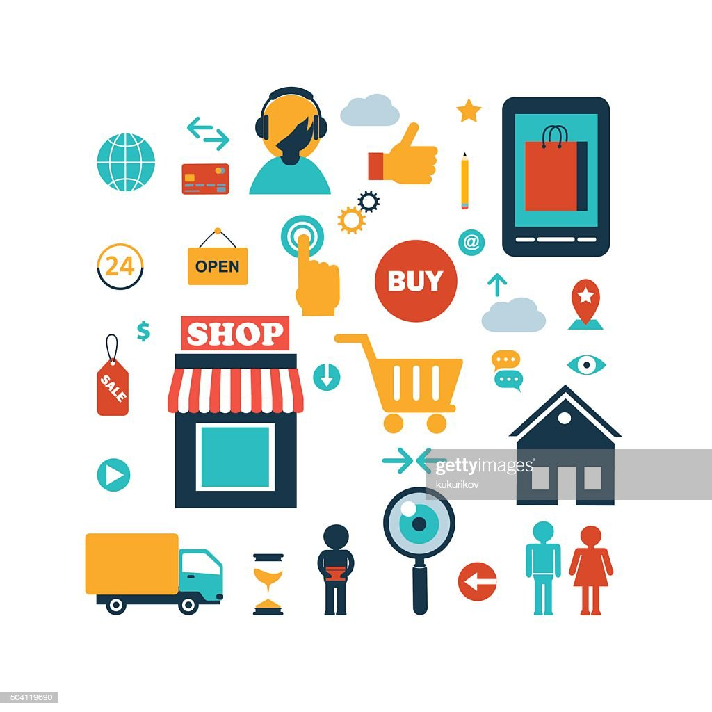 set of online shopping internet  infographic elements