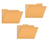 Set of open variously tabbed file folders, vector mock-up
