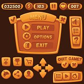 Set of orange cartoon buttons for casual games.