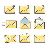 Set of orange flat envelopes with message signs