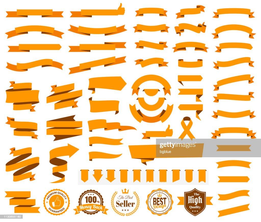オレンジ リボン、バナー、バッジ、ラベル - 白い背景のデザイン要素のセット : ストックイラストレーション
