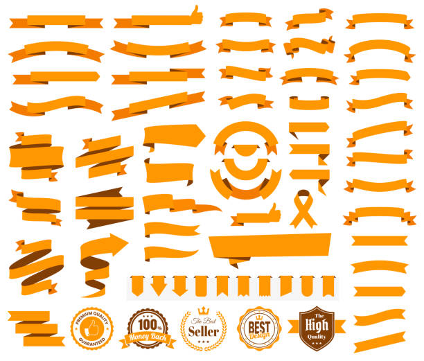 set of orange ribbons, banners, badges, labels - design elements on white background - vector stock illustrations