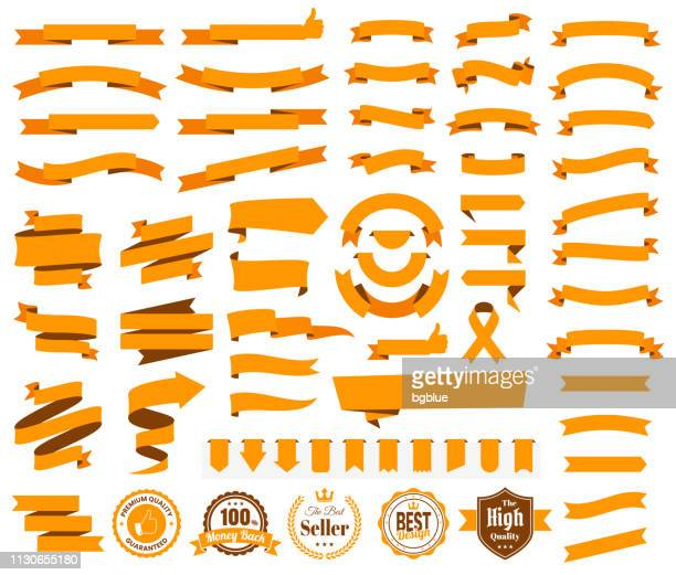set of orange ribbons, banners, badges, labels - design elements on white background - folded stock illustrations