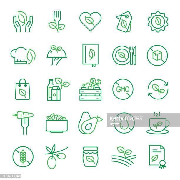 ilustrações, clipart, desenhos animados e ícones de conjunto de ícones da linha de alimentos orgânicos e produtos relacionados. curso editável. ícones de contorno simples. - produto local
