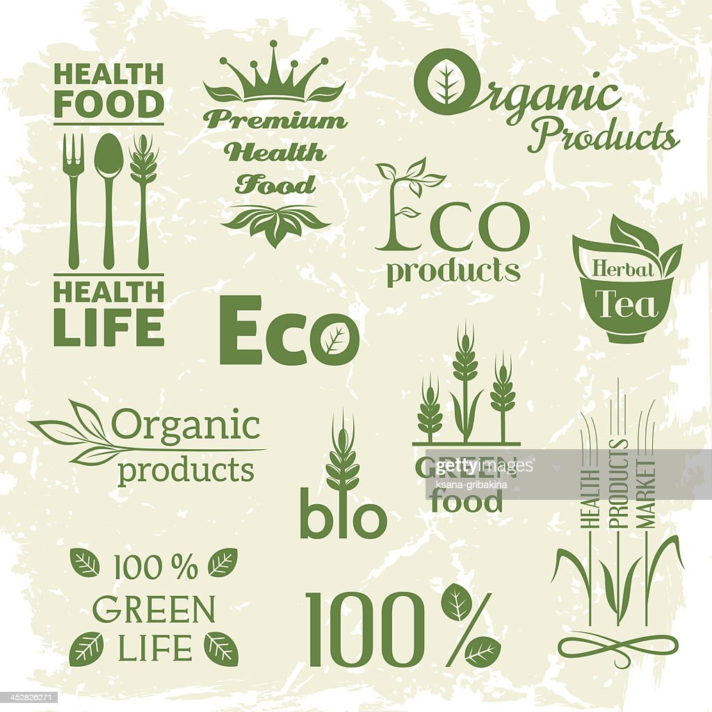 Set of organic products logo