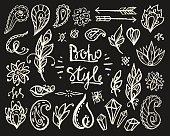 Set of Ornamental Boho Style Elements.