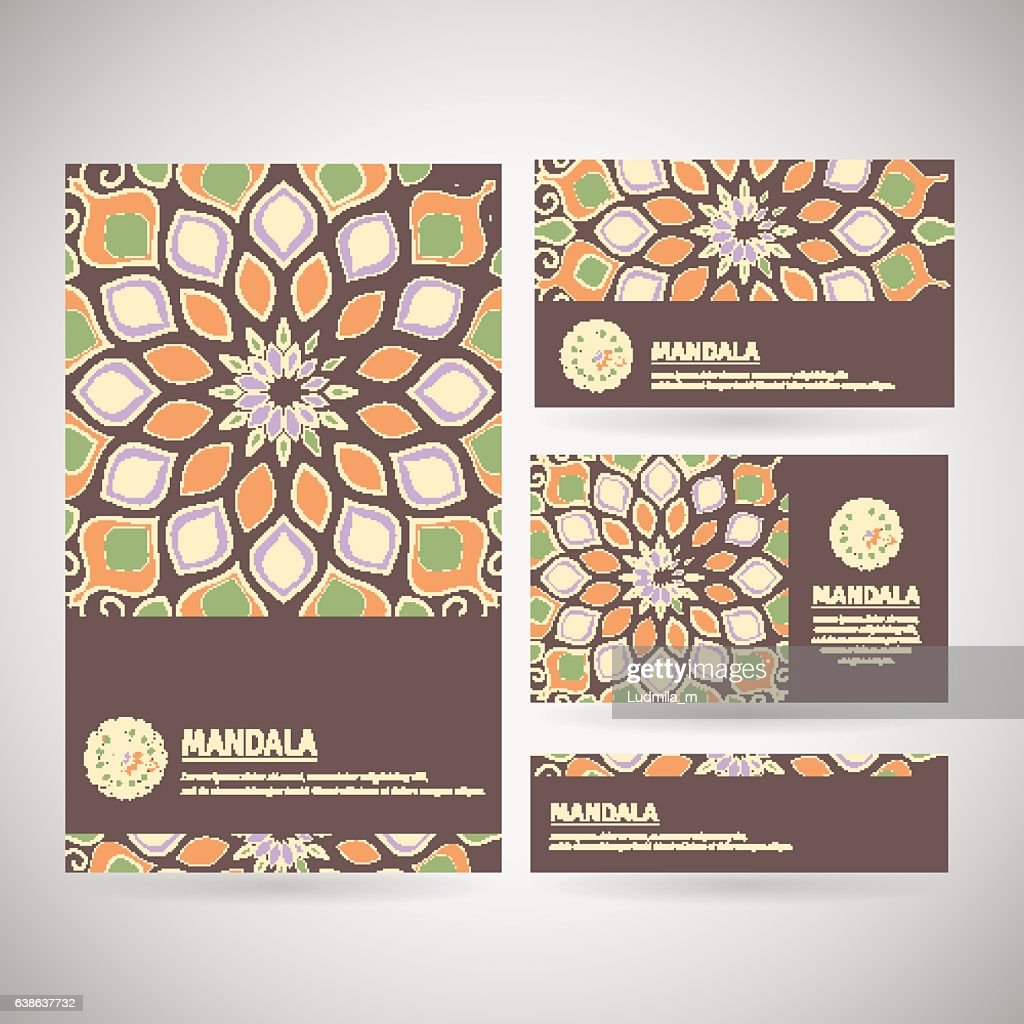 Set of ornamental business cards with flower mandala.