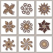 Set of Ornamental Circles with Long Shadow